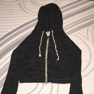 Dark grey crop zip up hoodie